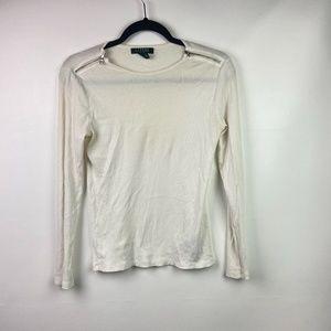 LAUREN RALPH LAUREN Womens Long Sleeve White Med